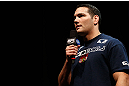 NEWARK, NJ - APRIL 26:   Chris Weidman interacts with fans during a Q&amp;A session before the UFC 159 weigh-in event at the Prudential Center on April 26, 2013 in Newark, New Jersey.  (Photo by Josh Hedges/Zuffa LLC/Zuffa LLC via Getty Images)