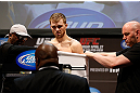 NEWARK, NJ - APRIL 26:   Bryan Caraway weighs in during the UFC 159 weigh-in event at the Prudential Center on April 26, 2013 in Newark, New Jersey.  (Photo by Josh Hedges/Zuffa LLC/Zuffa LLC via Getty Images)