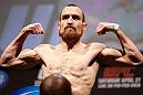 NEWARK, NJ - APRIL 26:   Pat Healy weighs in during the UFC 159 weigh-in event at the Prudential Center on April 26, 2013 in Newark, New Jersey.  (Photo by Josh Hedges/Zuffa LLC/Zuffa LLC via Getty Images)