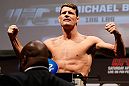 NEWARK, NJ - APRIL 26:   Michael Bisping weighs in during the UFC 159 weigh-in event at the Prudential Center on April 26, 2013 in Newark, New Jersey.  (Photo by Josh Hedges/Zuffa LLC/Zuffa LLC via Getty Images)