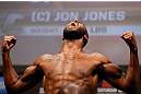 "NEWARK, NJ - APRIL 26:   UFC Light Heavyweight Champion Jon ""Bones"" Jones makes weight during the UFC 159 weigh-in event at the Prudential Center on April 26, 2013 in Newark, New Jersey.  (Photo by Josh Hedges/Zuffa LLC/Zuffa LLC via Getty Images)"