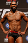 "NEWARK, NJ - APRIL 26:   UFC Light Heavyweight Champion Jon ""Bones"" Jones stands on stage after making weight during the UFC 159 weigh-in event at the Prudential Center on April 26, 2013 in Newark, New Jersey.  (Photo by Josh Hedges/Zuffa LLC/Zuffa LLC via Getty Images)"