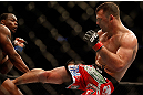 NEWARK, NJ - APRIL 27:   (R-L) Gian Villante kicks Ovince Saint Preux in their light heavyweight fight during the UFC 159 event at the Prudential Center on April 27, 2013 in Newark, New Jersey.  (Photo by Josh Hedges/Zuffa LLC/Zuffa LLC via Getty Images)
