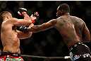 NEWARK, NJ - APRIL 27:   (R-L) Ovince Saint Preux punches Gian Villante in their light heavyweight fight during the UFC 159 event at the Prudential Center on April 27, 2013 in Newark, New Jersey.  (Photo by Josh Hedges/Zuffa LLC/Zuffa LLC via Getty Images)