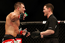 NEWARK, NJ - APRIL 27:   (L-R) Gian Villante argues with referee Kevin Mulholland after a controversial stoppage in his light heavyweight fight against Ovince Saint Preux during the UFC 159 event at the Prudential Center on April 27, 2013 in Newark, New Jersey.  (Photo by Josh Hedges/Zuffa LLC/Zuffa LLC via Getty Images)