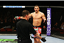 NEWARK, NJ - APRIL 27: Gian Villante reacts after the referee stops the match due to an unintentional foul by Ovince Saint Preux in their light heavyweight bout during the UFC 159 event at the Prudential Center on April 27, 2013 in Newark, New Jersey.  (Photo by Al Bello/Zuffa LLC/Zuffa LLC Via Getty Images)