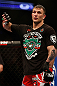 NEWARK, NJ - APRIL 27:   Gian Villante expresses his displeasure after a controversial stoppage in his light heavyweight fight against Ovince Saint Preux during the UFC 159 event at the Prudential Center on April 27, 2013 in Newark, New Jersey.  (Photo by Josh Hedges/Zuffa LLC/Zuffa LLC via Getty Images)