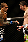 NEWARK, NJ - APRIL 27:   (L-R) Yancy Medeiros shows opponent Rustam Khabilov his dislocated thumb suffered in their lightweight fight during the UFC 159 event at the Prudential Center on April 27, 2013 in Newark, New Jersey.  (Photo by Josh Hedges/Zuffa LLC/Zuffa LLC via Getty Images)