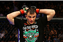 NEWARK, NJ - APRIL 27: Gian Villante reacts after losing by majority technical decision to Ovince Saint Preux in their light heavyweight bout during the UFC 159 event at the Prudential Center on April 27, 2013 in Newark, New Jersey.  (Photo by Al Bello/Zuffa LLC/Zuffa LLC Via Getty Images)