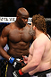 NEWARK, NJ - APRIL 27: (L-R) Cheick Kongo of France and Roy Nelson shakes hands after Nelson won by knockout in their heavyweight bout during the UFC 159 event at the Prudential Center on April 27, 2013 in Newark, New Jersey.  (Photo by Al Bello/Zuffa LLC/Zuffa LLC Via Getty Images)