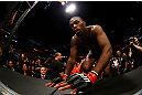 NEWARK, NJ - APRIL 27:  Jon Jones enters the octagon before fighting against Chael Sonnen in their light heavyweight championship bout during the UFC 159 event at the Prudential Center on April 27, 2013 in Newark, New Jersey.  (Photo by Al Bello/Zuffa LLC/Zuffa LLC Via Getty Images)