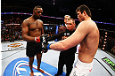 NEWARK, NJ - APRIL 27:  Jon Jones and Chael Sonnen shake hands before their light heavyweight championship bout during the UFC 159 event at the Prudential Center on April 27, 2013 in Newark, New Jersey.  (Photo by Al Bello/Zuffa LLC/Zuffa LLC Via Getty Images)