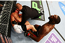 NEWARK, NJ - APRIL 27: Referee Keith Peterson ends the fight after Jon Jones knocked out Chael Sonnen to win their light heavyweight championship bout during the UFC 159 event at the Prudential Center on April 27, 2013 in Newark, New Jersey.  (Photo by Al Bello/Zuffa LLC/Zuffa LLC Via Getty Images)