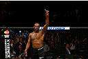 NEWARK, NJ - APRIL 27:  Jon Jones celebrates his knockout against Chael Sonnen to win their light heavyweight championship bout during the UFC 159 event at the Prudential Center on April 27, 2013 in Newark, New Jersey.  (Photo by Al Bello/Zuffa LLC/Zuffa LLC Via Getty Images)