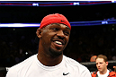NEWARK, NJ - APRIL 27:  Jon Jones smiles as Pat Healy is announced winner by knockout against Chael Sonnen after their light heavyweight championship bout during the UFC 159 event at the Prudential Center on April 27, 2013 in Newark, New Jersey.  (Photo by Al Bello/Zuffa LLC/Zuffa LLC Via Getty Images)