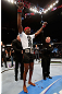 "NEWARK, NJ - APRIL 27:   UFC Light Heavyweight Champion Jon ""Bones"" Jones reacts after defeating Chael Sonnen in their light heavyweight championship fight during the UFC 159 event at the Prudential Center on April 27, 2013 in Newark, New Jersey.  (Photo by Josh Hedges/Zuffa LLC/Zuffa LLC via Getty Images)"