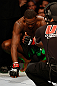 "NEWARK, NJ - APRIL 27:   UFC Light Heavyweight Champion Jon ""Bones"" Jones enters the Octagon before his light heavyweight championship fight against Chael Sonnen during the UFC 159 event at the Prudential Center on April 27, 2013 in Newark, New Jersey.  (Photo by Josh Hedges/Zuffa LLC/Zuffa LLC via Getty Images)"