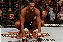"NEWARK, NJ - APRIL 27:   UFC Light Heavyweight Champion Jon ""Bones"" Jones stands in the Octagon before his light heavyweight championship fight against Chael Sonnen during the UFC 159 event at the Prudential Center on April 27, 2013 in Newark, New Jersey.  (Photo by Josh Hedges/Zuffa LLC/Zuffa LLC via Getty Images)"