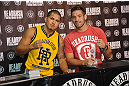 LAS VEGAS, NV - JULY 7:   Anthony Pettis and Sam Stout in attendance during the UFC Fan Expo at the Mandalay Bay Convention Center on July 7, 2012 in Las Vegas, Nevada.  (Photo by Al Powers/Zuffa LLC/Zuffa LLC via Getty Images)  *** Local Caption ***