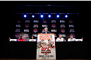 JARAGUA DO SUL, BRAZIL - MAY 16:   A general view of the fighters on the dais during media day for the UFC on FX event on May 16, 2013 at the Sociedade Cultura Artistica in Jaragua do Sul, Santa Catarina, Brazil.  (Photo by Josh Hedges/Zuffa LLC/Zuffa LLC via Getty Images)