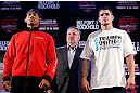 "JARAGUA DO SUL, BRAZIL - MAY 16:   (L-R) Opponents Ronaldo ""Jacare"" Souza and Chris Camozzi pose for photos during media day for the UFC on FX event on May 16, 2013 at the Sociedade Cultura Artistica in Jaragua do Sul, Santa Catarina, Brazil.  (Photo by Josh Hedges/Zuffa LLC/Zuffa LLC via Getty Images)"