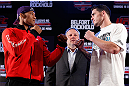 "JARAGUA DO SUL, BRAZIL - MAY 16:   (L-R) Opponents Ronaldo ""Jacare"" Souza and Chris Camozzi face off during media day for the UFC on FX event on May 16, 2013 at the Sociedade Cultura Artistica in Jaragua do Sul, Santa Catarina, Brazil.  (Photo by Josh Hedges/Zuffa LLC/Zuffa LLC via Getty Images)"