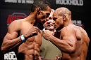 JARAGUA DO SUL, BRAZIL - MAY 17: (L-R) Opponents Yuri Alcantara and Iliarde Santos face off during the UFC on FX weigh-in on May 17, 2013 at the Arena Jaragua in Jaragua do Sul, Santa Catarina, Brazil. (Photo by Josh Hedges/Zuffa LLC/Zuffa LLC via Getty Images)