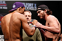 JARAGUA DO SUL, BRAZIL - MAY 17: (L-R) Opponents Francisco Trinaldo and Mike Rio face off during the UFC on FX weigh-in on May 17, 2013 at the Arena Jaragua in Jaragua do Sul, Santa Catarina, Brazil. (Photo by Josh Hedges/Zuffa LLC/Zuffa LLC via Getty Images)