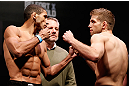 JARAGUA DO SUL, BRAZIL - MAY 17: (L-R) Opponents Hacran Dias and Nik Lentz face off during the UFC on FX weigh-in on May 17, 2013 at the Arena Jaragua in Jaragua do Sul, Santa Catarina, Brazil. (Photo by Josh Hedges/Zuffa LLC/Zuffa LLC via Getty Images)