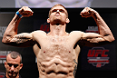 JARAGUA DO SUL, BRAZIL - MAY 17: Evan Dunham weighs in during the UFC on FX weigh-in on May 17, 2013 at the Arena Jaragua in Jaragua do Sul, Santa Catarina, Brazil. (Photo by Josh Hedges/Zuffa LLC/Zuffa LLC via Getty Images)