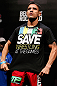 JARAGUA DO SUL, BRAZIL - MAY 17: Rafael dos Anjos wears a shirt in support of saving Olympic wrestling during the UFC on FX weigh-in on May 17, 2013 at the Arena Jaragua in Jaragua do Sul, Santa Catarina, Brazil. (Photo by Josh Hedges/Zuffa LLC/Zuffa LLC via Getty Images)