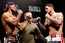 JARAGUA DO SUL, BRAZIL - MAY 17: (L-R) Opponents Ronaldo 'Jacare' Souza and Chris Camozzi face off during the UFC on FX weigh-in on May 17, 2013 at the Arena Jaragua in Jaragua do Sul, Santa Catarina, Brazil. (Photo by Josh Hedges/Zuffa LLC/Zuffa LLC via Getty Images)