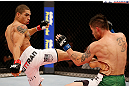 JARAGUA DO SUL, BRAZIL - MAY 18: (L-R) Lucas Martins kicks Jeremy Larsen in their lightweight bout during the UFC on FX event on May 18, 2013 at Arena Jaragua in Jaragua do Sul, Santa Catarina, Brazil. (Photo by Josh Hedges/Zuffa LLC/Zuffa LLC via Getty Images)