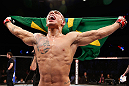 JARAGUA DO SUL, BRAZIL - MAY 18: Lucas Martins reacts after knocking out Jeremy Larsen in their lightweight bout during the UFC on FX event on May 18, 2013 at Arena Jaragua in Jaragua do Sul, Santa Catarina, Brazil. (Photo by Josh Hedges/Zuffa LLC/Zuffa LLC via Getty Images)
