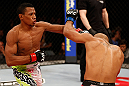 JARAGUA DO SUL, BRAZIL - MAY 18: (L-R) Yuri Alcantara punches Iliarde Santos in their bantamweight bout during the UFC on FX event on May 18, 2013 at Arena Jaragua in Jaragua do Sul, Santa Catarina, Brazil. (Photo by Josh Hedges/Zuffa LLC/Zuffa LLC via Getty Images)