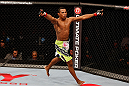JARAGUA DO SUL, BRAZIL - MAY 18: Yuri Alcantara reacts after knocking out Iliarde Santos in their bantamweight bout during the UFC on FX event on May 18, 2013 at Arena Jaragua in Jaragua do Sul, Santa Catarina, Brazil. (Photo by Josh Hedges/Zuffa LLC/Zuffa LLC via Getty Images)