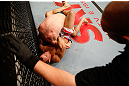 JARAGUA DO SUL, BRAZIL - MAY 18: (L-R) Gleison Tibau secures a guillotine choke submission against John Cholish in their lightweight bout during the UFC on FX event on May 18, 2013 at Arena Jaragua in Jaragua do Sul, Santa Catarina, Brazil. (Photo by Josh Hedges/Zuffa LLC/Zuffa LLC via Getty Images)