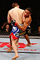 JARAGUA DO SUL, BRAZIL - MAY 18: (R-L) Hacran Dias attempts to take down Nik Lentz in their featherweight bout during the UFC on FX event on May 18, 2013 at Arena Jaragua in Jaragua do Sul, Santa Catarina, Brazil. (Photo by Josh Hedges/Zuffa LLC/Zuffa LLC via Getty Images)