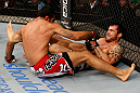 JARAGUA DO SUL, BRAZIL - MAY 18: (R-L) Joao Zeferino attempts a heel hook submission against Rafael Natal in their middleweight bout during the UFC on FX event on May 18, 2013 at Arena Jaragua in Jaragua do Sul, Santa Catarina, Brazil. (Photo by Josh Hedges/Zuffa LLC/Zuffa LLC via Getty Images)