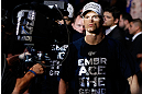 JARAGUA DO SUL, BRAZIL - MAY 18: Evan Dunham enters the arena before his lightweight bout against Rafael dos Anjos during the UFC on FX event on May 18, 2013 at Arena Jaragua in Jaragua do Sul, Santa Catarina, Brazil. (Photo by Josh Hedges/Zuffa LLC/Zuffa LLC via Getty Images)