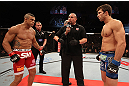 JARAGUA DO SUL, BRAZIL - MAY 18:   (L-R) Opponents Vitor Belfort and Luke Rockhold face off before their middleweight bout during the UFC on FX event on May 18, 2013 at Arena Jaragua in Jaragua do Sul, Santa Catarina, Brazil.  (Photo by Josh Hedges/Zuffa LLC/Zuffa LLC via Getty Images)