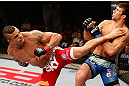JARAGUA DO SUL, BRAZIL - MAY 18: (L-R) Vitor Belfort knocks out Luke Rockhold with a spinning heel kick in their middleweight bout during the UFC on FX event on May 18, 2013 at Arena Jaragua in Jaragua do Sul, Santa Catarina, Brazil. (Photo by Josh Hedges/Zuffa LLC/Zuffa LLC via Getty Images)