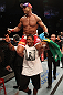 JARAGUA DO SUL, BRAZIL - MAY 18: Vitor Belfort reacts after knocking out Luke Rockhold in their middleweight bout during the UFC on FX event on May 18, 2013 at Arena Jaragua in Jaragua do Sul, Santa Catarina, Brazil. (Photo by Josh Hedges/Zuffa LLC/Zuffa LLC via Getty Images)