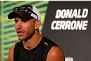 "LAS VEGAS, NV - MAY 23:   Donald ""Cowboy"" Cerrone interacts with media during the UFC 160 Ultimate Media Day at the MGM Grand Hotel/Casino on May 23, 2013 in Las Vegas, Nevada.  (Photo by Josh Hedges/Zuffa LLC/Zuffa LLC via Getty Images)"