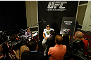 "LAS VEGAS, NV - MAY 23:   Antonio ""Bigfoot"" Silva interacts with media during the UFC 160 Ultimate Media Day at the MGM Grand Hotel/Casino on May 23, 2013 in Las Vegas, Nevada.  (Photo by Josh Hedges/Zuffa LLC/Zuffa LLC via Getty Images)"