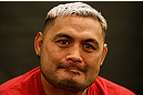 LAS VEGAS, NV - MAY 23:   Mark Hunt interacts with media during the UFC 160 Ultimate Media Day at the MGM Grand Hotel/Casino on May 23, 2013 in Las Vegas, Nevada.  (Photo by Josh Hedges/Zuffa LLC/Zuffa LLC via Getty Images)