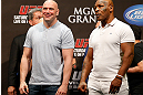 LAS VEGAS, NV - MAY 24:   (L-R) UFC President Dana White and former boxing champion Mike Tyson stand on stage during the UFC 160 weigh-in at the MGM Grand Garden Arena on May 24, 2013 in Las Vegas, Nevada.  (Photo by Josh Hedges/Zuffa LLC/Zuffa LLC via Getty Images)