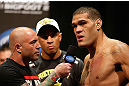 "LAS VEGAS, NV - MAY 24:   (R-L) Antonio ""Bigfoot"" Silva is interviewed by Joe Rogan during the UFC 160 weigh-in at the MGM Grand Garden Arena on May 24, 2013 in Las Vegas, Nevada.  (Photo by Josh Hedges/Zuffa LLC/Zuffa LLC via Getty Images)"