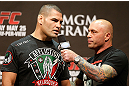 LAS VEGAS, NV - MAY 24:   (L-R) Cain Velasquez is interviewed by Joe Rogan during the UFC 160 weigh-in at the MGM Grand Garden Arena on May 24, 2013 in Las Vegas, Nevada.  (Photo by Josh Hedges/Zuffa LLC/Zuffa LLC via Getty Images)