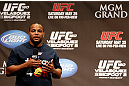 LAS VEGAS, NV - MAY 24:   UFC heavyweight contender and former Oklahoma State and Olympic wrestling standout Daniel Cormier interacts with fans during a Q&A session before the UFC 160 weigh-in at the MGM Grand Garden Arena on May 24, 2013 in Las Vegas, Nevada.  (Photo by Josh Hedges/Zuffa LLC/Zuffa LLC via Getty Images)